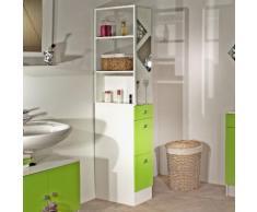 Colonne salle de bain 3 tiroirs 1 miroir L24.5xP54xH181.50cm BANIO Blanc / Vert