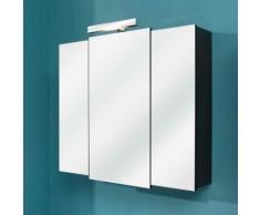Armoire de toilette 3 portes miroir avec éclairage LED WEASLEY Anthracite 68 cm