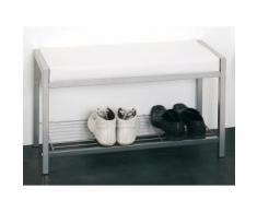 Meuble à chaussures/Banc Acier et imitation cuir (4 paires) L80xP32xH48cm MARY Blanc