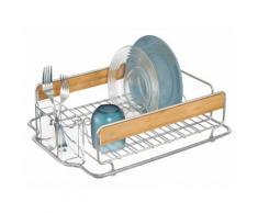 Egouttoir en métal et bois avec range couvert en plastique 43.25x34.25x12.75cm FORMBU