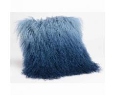 Coussin à poils longs 100% laine d'agneau 35x35 cm COLOR Bleu