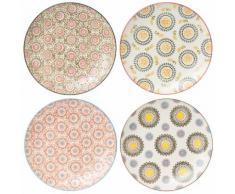 Assiette plate en céramique motifs bohèmes multicolores D.26cm - Coffret de 4 PANAMA