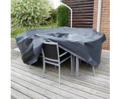 Housse de protection salon de jardin rectangle 6 places 225x205 cm gris/noir GRAPHITE