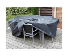 Housse de protection salon de jardin rond 6 places diam. 325 cm gris/noir GRAPHITE
