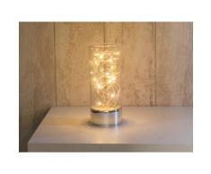 Lampe à poser cylindre en verre avec guirlande lumineuse hauteur 25cm Vitroled Transparent
