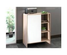 Meuble bas de cuisine en bois 1 porte 3 niches EDGAR Chêne 71 cm