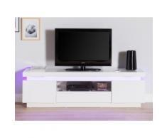 Meuble TV 2 portes 1 tiroir 1 niche avec leds en bois laqué L165cm IVY Blanc