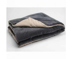 Edredon bicolore matelassé velours 100% coton 150x150cm COCON Anthracite