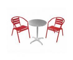 Salon de jardin bistrot 2 personnes en aluminium avec fauteuils empilables COFFEE Rouge