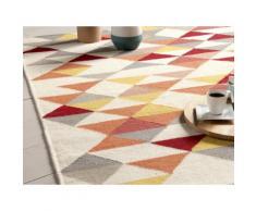 Tapis laine tissé main motifs triangle jaune/orange KALMAR 200x290cm