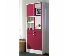 Armoire salle de bain L62.6xP28.4x181.1cm BANIO Blanc / Fushia