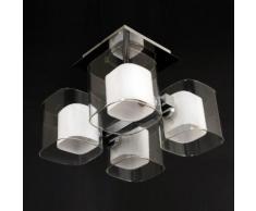 Plafonnier carré 4 lumières en métal et verre dépoli longueur 31cm Berlin