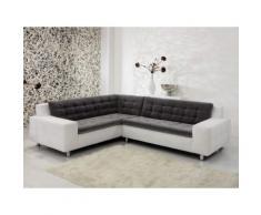 Canapé d'angle bi-matière capitonné avec pieds chromés BELLA Blanc/gris Gauche