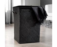Panier à linge en jonc teinté noir finement tréssé 36x36x50cm Titane