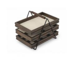 Boite à bijoux 3 tiroirs de rangement en bois noyer 17.8x25.4x20.3cm TERRACE
