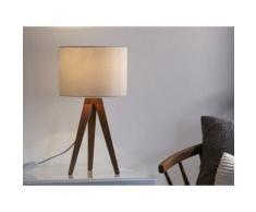 Lampe à poser trépied en bois et abat jour cylindre en tissu blanc Kullen 44cm 44cm