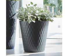 Pot de fleur rond en polyéthylène imitation céramique Pure Anthracite 47cm