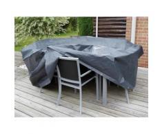 Housse de protection salon de jardin rond 4/6 places diam. 205 cm gris/noir GRAPHITE
