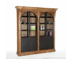 Bibliothèque en bois avec portes vitrines en métal Hauteur 230cm DYNASTIE Double