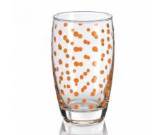 Verre à eau long drink 33 cl motif pois - Lot de 6 pièces AURELIA Orange