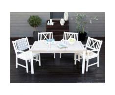 Salon de jardin 4 places : 1 table 160x90cm + 4 fauteuils en acacia NORMANDY