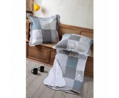 Couvre lit boutis polyester + 2 taies volant 65x65cm patchwork motifs gris MISTRA