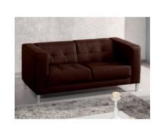 Canapé simili capitonné design + pieds métal CHARLTON Chocolat
