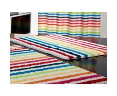 Tapis de bain 100% coton blanc rayures multicolores SHINE 50x80cm