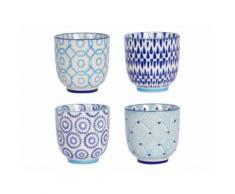 Gobelets en grès D.7cm motifs assortis blanc / bleu - Coffret de 4 pièces ADELIE