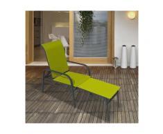 Fauteuil bas avec repose-pieds intégré en aluminium et polyester enduit LOUNGE Vert anis