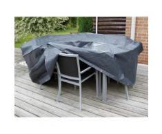 Housse de protection salon de jardin rectangle 8 places 325x205 cm gris/noir GRAPHITE