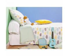Taie d'oreiller enfant réversible 100% coton nuage zigzag céladon 65x65cm LEO