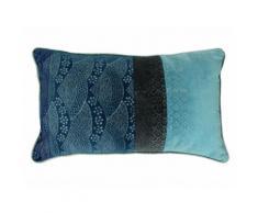 Coussin rectangulaire en velours à motif effet japonisant bicolore bleu 30x50cm HIROYUKI