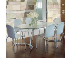 Salon de jardin 6 places: table oblongue verre / aluminium avec chaises LOTO / NINFEA DINNER