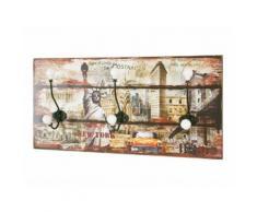Patère murale horizontale en bois 3 têtes 60x12x30cm Vintage Freedom