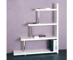 Etagère escalier 4 niveaux en bois laqué blanc L120cm x H137cm GENES