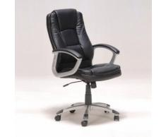 Chaise de bureau sur roulettes avec accoudoirs L69xP64xH116cm BORIS Noir
