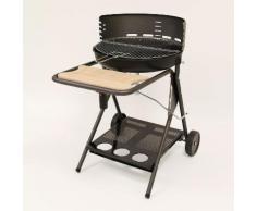 Barbecue charbon cuve en fonte diamètre 53 cm sur chariot Turbomagic SEVILLA