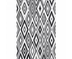 Tapis 100% polyester et microfibre motif navajo KELIM Noir/blanc 160x225cm