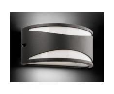 Applique électrique extérieure rectangulaire bombée en aluminium gris longueur 25cm BONN