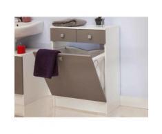 Rangement salle de bain avec tiroirs et bac à linge BANIO Taupe