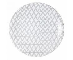 Assiette plate en grès motif chevron gris et blanc D.27cm - Lot de 6 MAKUN