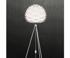Lampadaire trépied en métal avec diffuseur pétales diamètre 45cm Silvia Blanc Trépied blanc