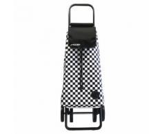 Chariot de course 4 roues avec sac en tissu à carreaux et châssis en aluminium 51L Noir et blanc F2