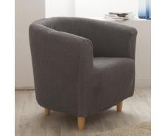 Housse de fauteuil cabriolet/club unie bi-extensible coton/polyester LISA Gris