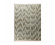 Tapis chanvre / laine vierge tissé main à franges chevrons bicolores Ethno Vert 80x150cm