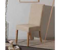 Housse de chaise unie extensible effet nid d'abeille HUGO Beige