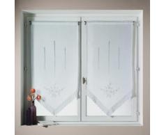 Voilage vitrage à passant polyester brodé fleur bout pointe blanc - lot de 2 BONNE FEMME 45x120cm