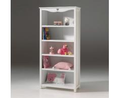 Bibliothèque 5 niveaux en bois laqué blanc Hauteur 190 cm AMORI