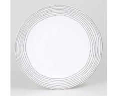 Assiette plate en grès motif cercles irréguliers noir D.27cm - Lot de 6 CURVE
